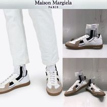 Maison Martin Margiela Stripes Blended Fabrics Leather Sneakers