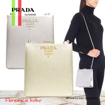 PRADA SAFFIANO LUX Saffiano Chain Plain Party Style Shoulder Bags