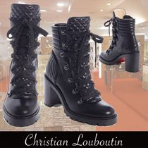 Christian Louboutin Lace-up Casual Style Plain Leather Lace-up Boots
