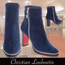 Christian Louboutin Plain Toe Suede Plain Chunky Heels Ankle & Booties Boots