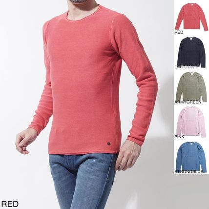 Crew Neck Long Sleeves Cotton Knits & Sweaters