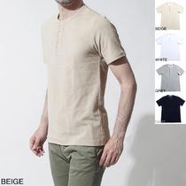 GUY ROVER Henry Neck Cotton Short Sleeves Henley T-Shirts