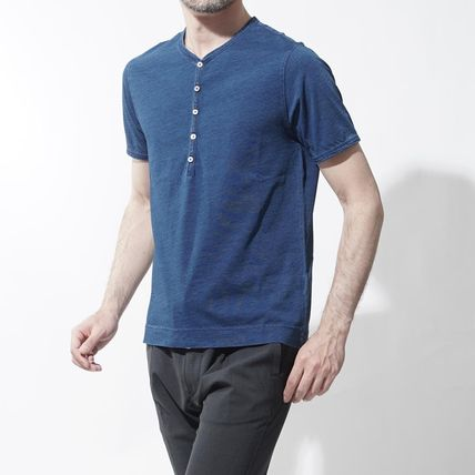 Henry Neck Cotton Short Sleeves Henley T-Shirts