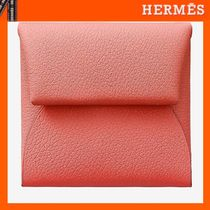 HERMES Bastia Unisex Plain Leather Coin Purses