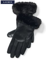 Ralph Lauren Blended Fabrics Plain Leather Leather & Faux Leather Gloves