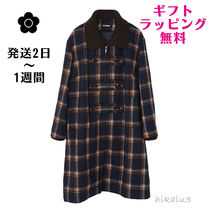 MARY QUANT Stand Collar Coats Other Check Patterns Casual Style Long