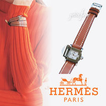 HERMES Casual Style Studded Leather Square Jewelry Watches