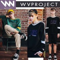 WV PROJECT Pullovers Unisex Studded U-Neck Long Sleeves Cotton