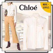 Chloe Silk Blended Fabrics Long Sleeves Plain Medium Elegant Style