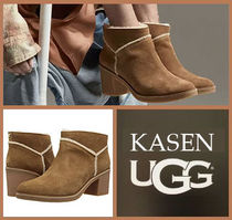 UGG Australia Round Toe Casual Style Suede Plain Block Heels