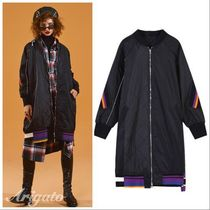 ELF SACK Stripes Casual Style Street Style Long Jackets