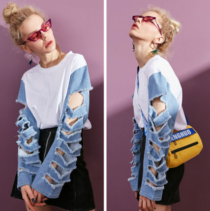 Denim Blended Fabrics Street Style Plain Medium Puff Sleeves