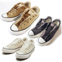 CONVERSE ALL STAR Casual Style Faux Fur Low-Top Sneakers