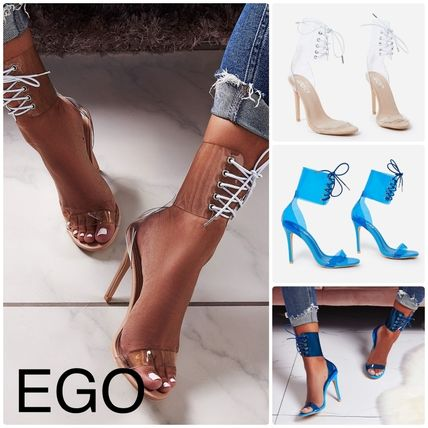 Open Toe Lace-up Casual Style Street Style Plain Sandals