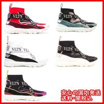 VALENTINO Round Toe Rubber Sole Casual Style Blended Fabrics