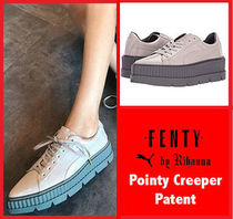 PUMA FENTY Rubber Sole Lace-up Casual Style Enamel Collaboration Plain