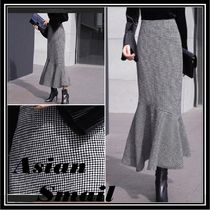 Pencil Skirts Gingham Zigzag Casual Style Long Maxi Skirts