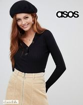 ASOS Casual Style Rib V-Neck Long Sleeves Plain Cotton Sweaters