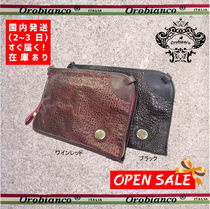 OROBIANCO Street Style A4 Plain Leather Clutches