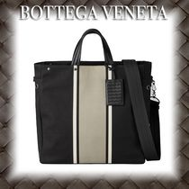 BOTTEGA VENETA Stripes Canvas A4 Totes