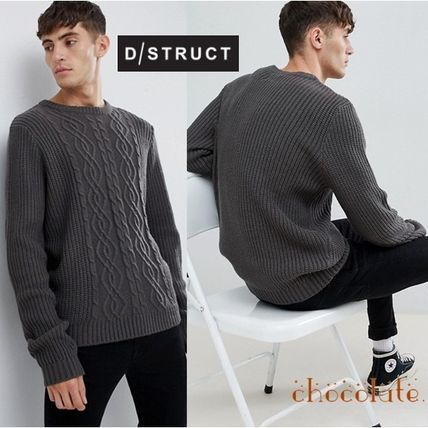 13cf30b6 ... ASOS Vests & Gillets Crew Neck Cable Knit Street Style Long Sleeves  Plain ...