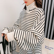 Stripes Casual Style Medium High-Neck Oversized Puff Sleeves