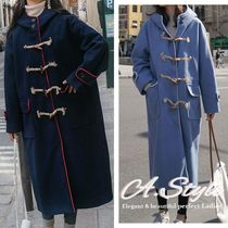Casual Style Plain Long Duffle Coats