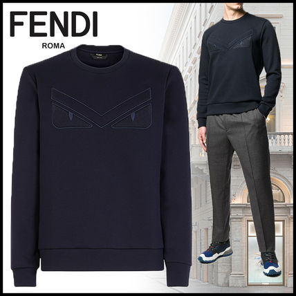 FENDI Sweatshirts Crew Neck Sweat Long Sleeves Plain Sweatshirts