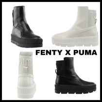 PUMA Platform Round Toe Casual Style Street Style Plain Leather