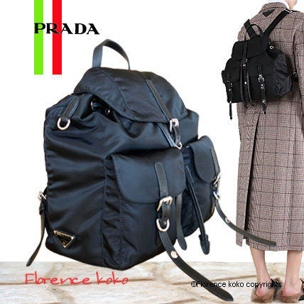 PRADA Backpacks Casual Style Nylon Blended Fabrics Studded Plain Backpacks