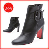 Christian Louboutin Round Toe Plain Leather Chunky Heels High Heel Boots
