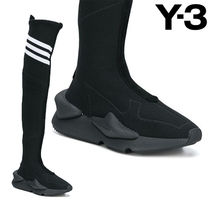 Y-3 Stripes Round Toe Casual Style Plain Over-the-Knee Boots