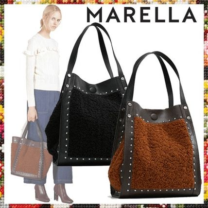 Casual Style Faux Fur Blended Fabrics Studded A4 Totes