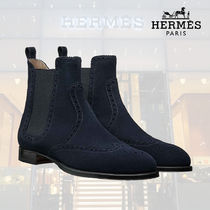 HERMES Round Toe Suede Blended Fabrics Street Style Plain