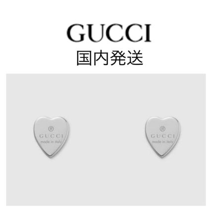 GUCCI Heart Earrings With Gucci Trademark