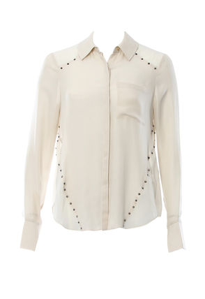 Casual Style Silk Studded Long Sleeves Plain Medium