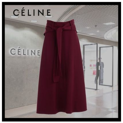 0c74da00ecd2 CELINE 2018-19AW Wool Plain Medium Elegant Style Midi Skirts by be ...