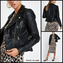 River Island Short Plain Leather Biker Jackets