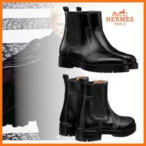 HERMES Plain Toe Casual Style Plain Leather Ankle & Booties Boots