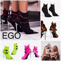 EGO Leopard Patterns Open Toe Casual Style Plain Pin Heels
