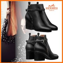 HERMES Studded Plain Leather Block Heels Ankle & Booties Boots