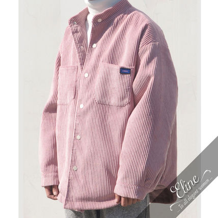 Shirts Corduroy Street Style Long Sleeves Plain Oversized Shirts
