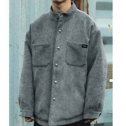 Shirts Corduroy Street Style Long Sleeves Plain Oversized Shirts 3