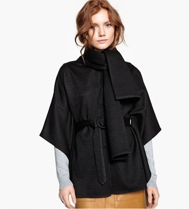 Short Wool Plain Ponchos & Capes