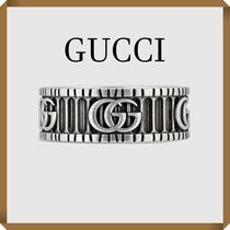 GUCCI Stripes Unisex Street Style Silver Rings