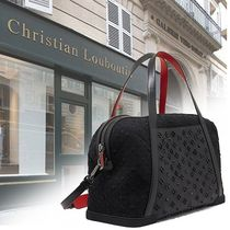 Christian Louboutin Canvas Blended Fabrics Studded A4 2WAY Boston Bags