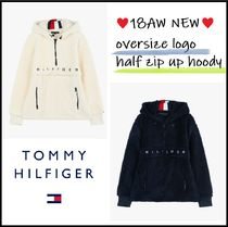 Tommy Hilfiger Unisex Long Sleeves Plain Oversized Hoodies