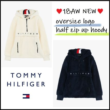 Tommy Hilfiger Hoodies Unisex Long Sleeves Plain Oversized Hoodies