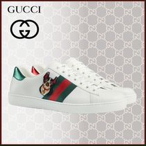 GUCCI Ace Loafers Unisex Blended Fabrics Street Style Plain Leather