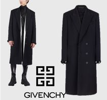 GIVENCHY Wool Blended Fabrics Street Style Bi-color Plain Long